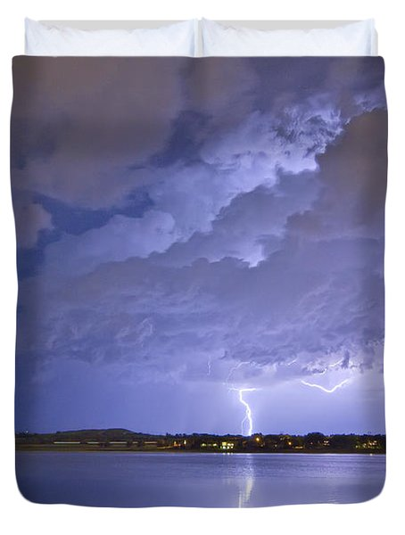 Lake View Lightning Thunderstorm Duvet Cover by James BO  Insogna