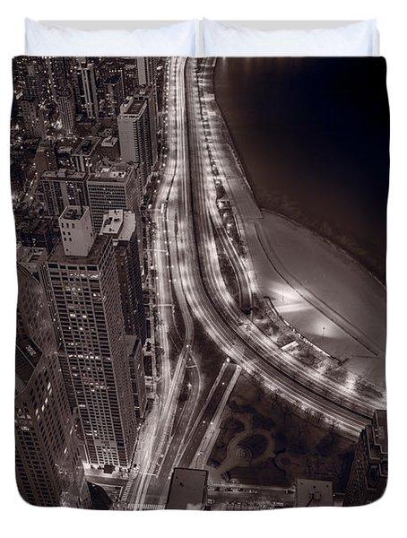 Lakeshore Drive Aloft Bw Warm Duvet Cover by Steve Gadomski