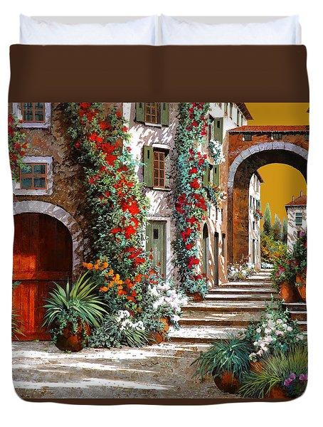 L'altra Porta Rossa Al Tramonto Duvet Cover by Guido Borelli