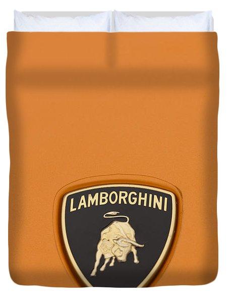 Lambo Hood Ornament Orange Duvet Cover by Scott Campbell