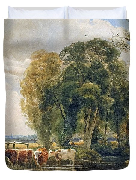 Landscape Cattle In A Stream With Sluice Gate Duvet Cover by Peter de Wint