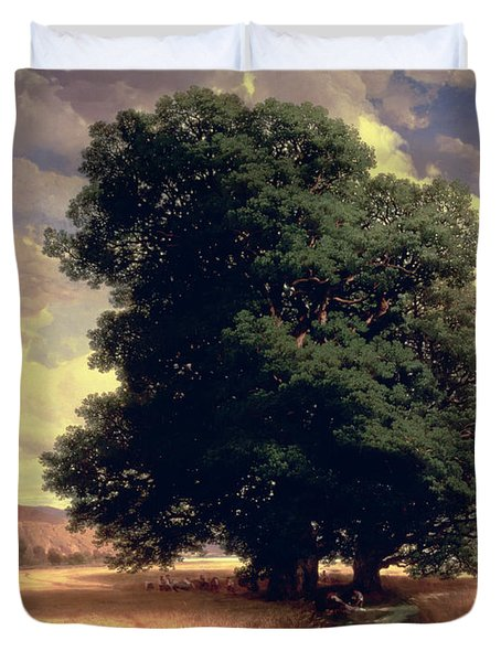 Landscape With Oaks Duvet Cover by Alexandre Calame