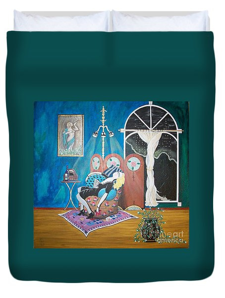 Languid Lady In A Chair Brooding Over Poetry Duvet Cover by John Lyes