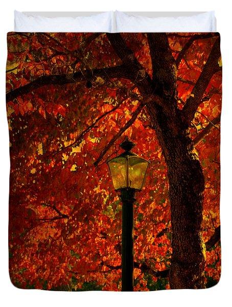 Lantern In Autumn Duvet Cover by Susanne Van Hulst