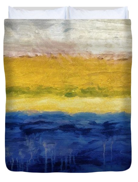 Lapis And Gold Get Married Duvet Cover by Michelle Calkins