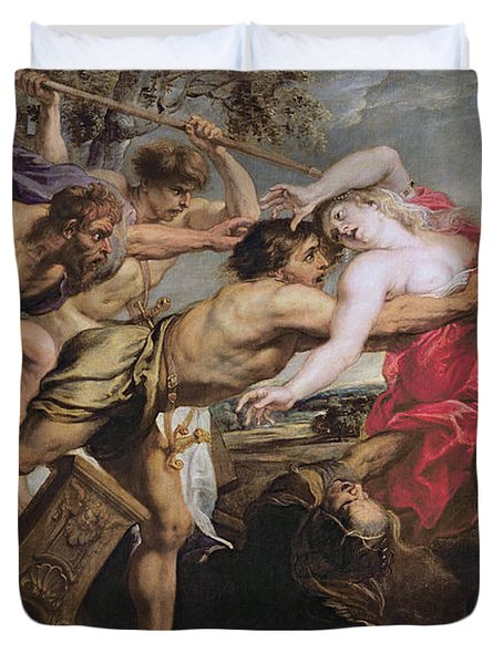 Lapiths And Centaurs Oil On Canvas Duvet Cover by Peter Paul Rubens
