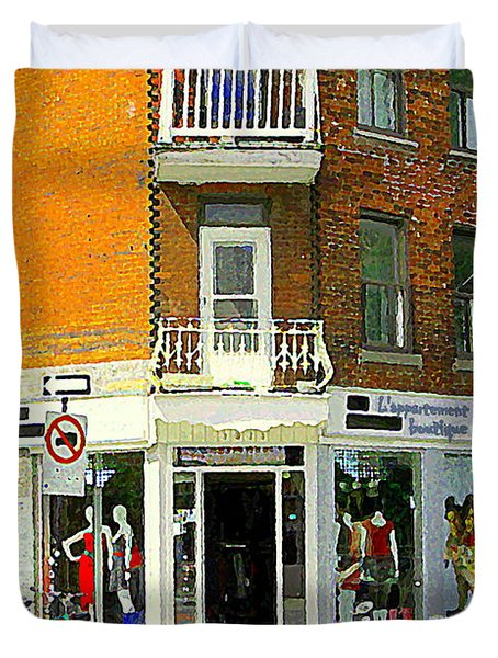 L'appartement Boutique Fashions Trendy Chic Clothing Store Ave Du Mont Royal City Scene Duvet Cover by Carole Spandau