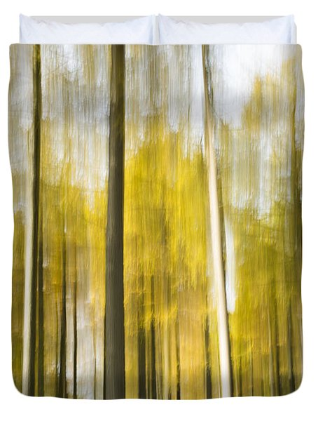 Larch Grove Blurred Duvet Cover by Anne Gilbert