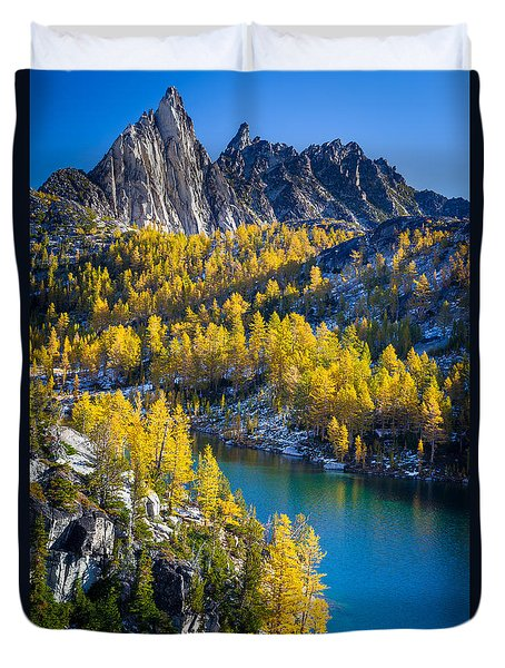 Larches At Perfection Lake Duvet Cover by Inge Johnsson