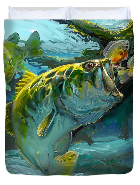 Large Mouth Bass and Blue Gills Duvet Cover by Savlen Art