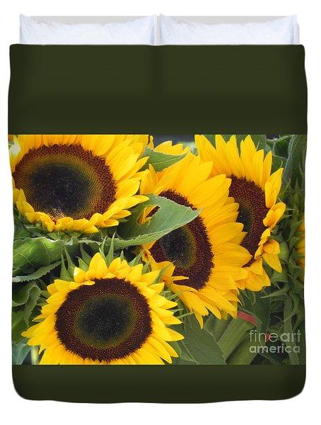 Large Sunflowers Duvet Cover by Chrisann Ellis
