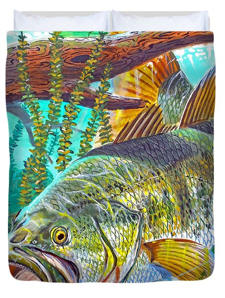 Largemouth Bass Duvet Cover by Carey Chen