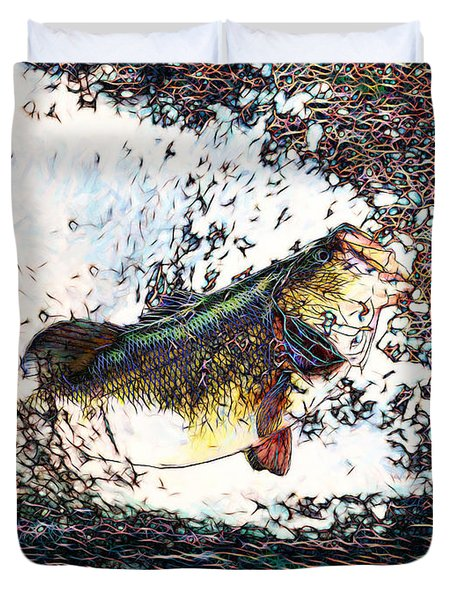 Largemouth Bass P180 Duvet Cover by Wingsdomain Art and Photography