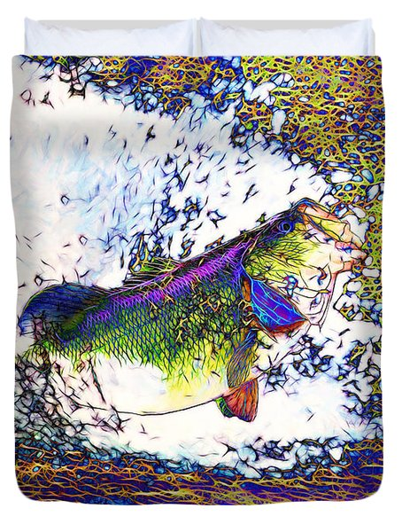 Largemouth Bass p68 Duvet Cover by Wingsdomain Art and Photography