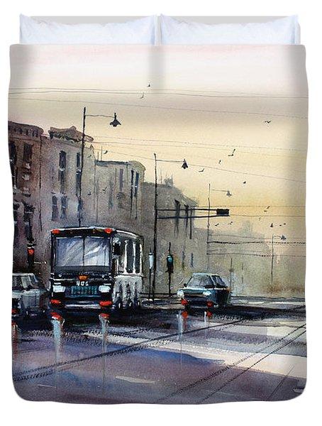 Last Light - College Ave. Duvet Cover by Ryan Radke