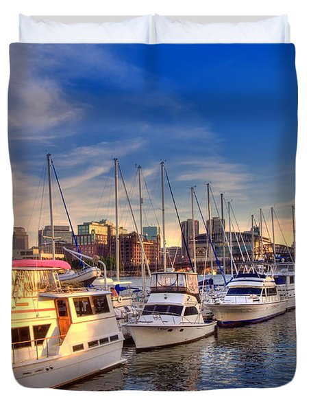 Late Afternoon at Constitution Marina - Charlestown Duvet Cover by Joann Vitali