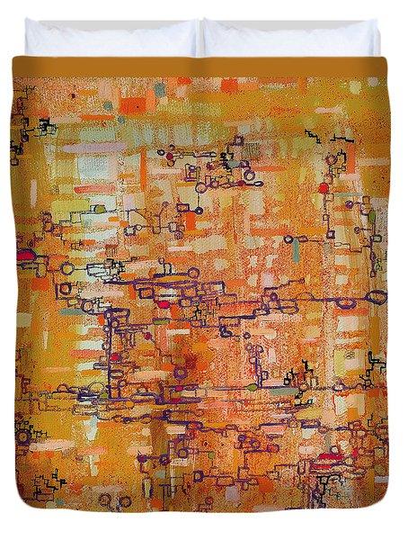 Lattice Animals Abstract Oil Painting By Regina Valluzzi Duvet Cover by Regina Valluzzi
