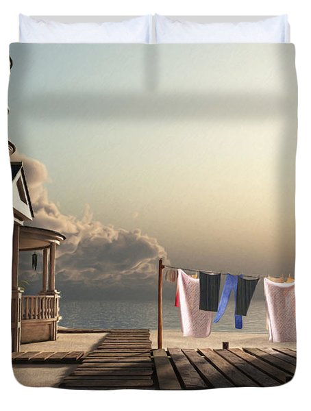 Laundry Day Duvet Cover by Cynthia Decker