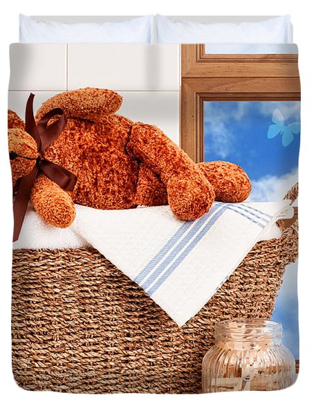 Laundry With Teddy Duvet Cover by Amanda Elwell