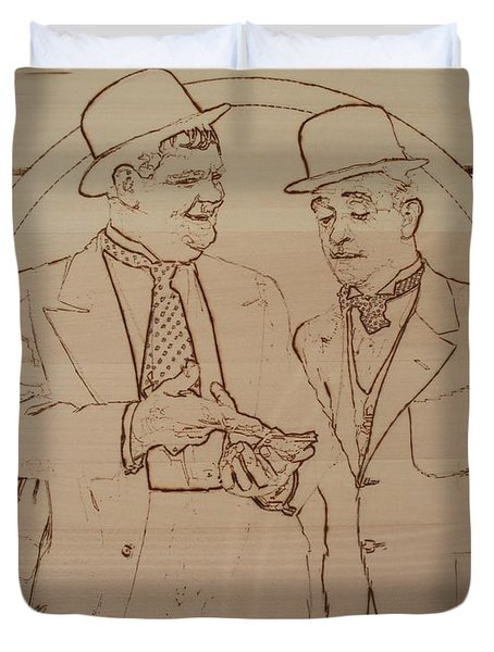 Laurel And Hardy - Thicker Than Water Duvet Cover by Sean Connolly