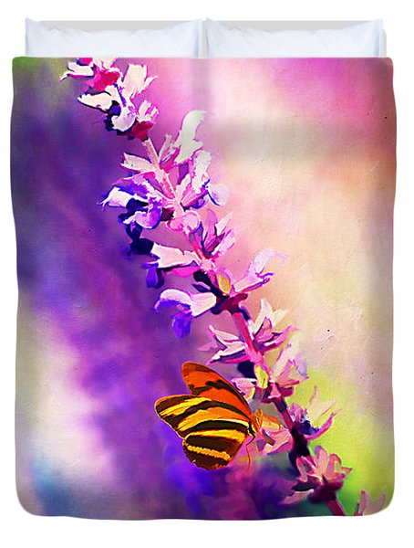 Lavender And Butterlies Duvet Cover by Darren Fisher