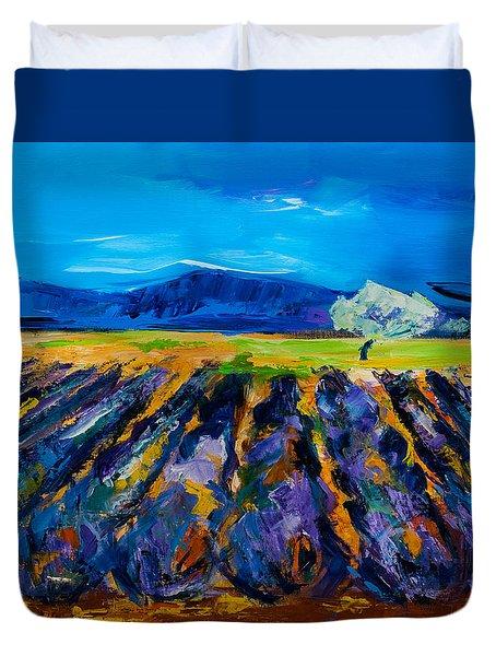 Lavender field Duvet Cover by Elise Palmigiani