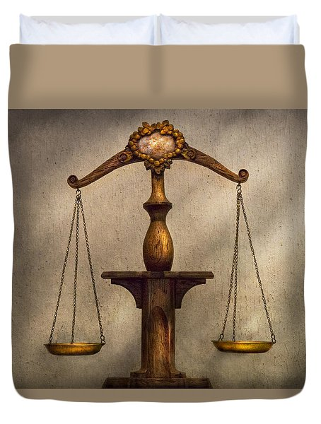 Lawyer - Scale - Fair and Just Duvet Cover by Mike Savad