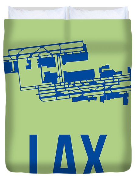 Lax Airport Poster 1 Duvet Cover by Naxart Studio