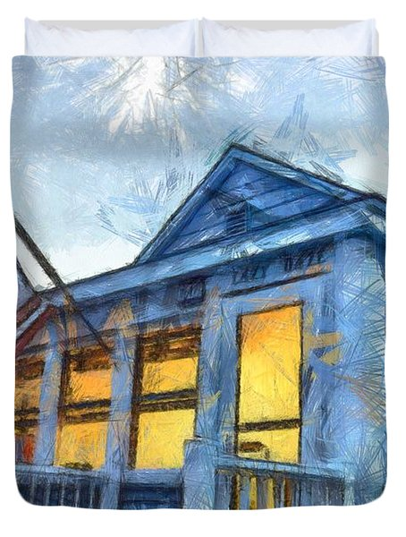 Lazy Daze Beach Cottage Pencil Sketch Duvet Cover by Edward Fielding