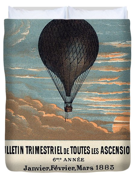 Le Ballon Advertising For French Aeronautical Journal Duvet Cover by Georgia Fowler