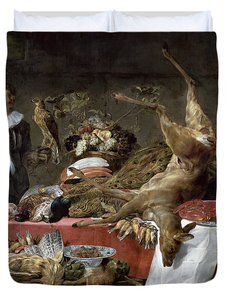 Le Cellier Oil On Canvas Duvet Cover by Frans Snyders or Snijders