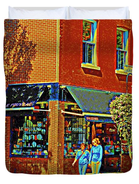 Le Fouvrac Foods Chocolates And Coffee Shop Corner Garnier And Laurier Montreal Street Scene Duvet Cover by Carole Spandau