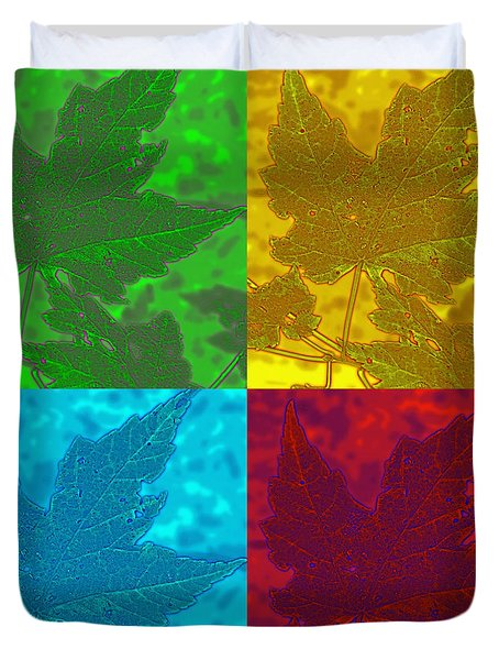 Leaf Pop Art Duvet Cover by Barbara McDevitt