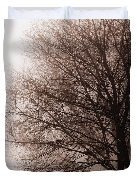 Leafless Tree In Fog Duvet Cover by Elena Elisseeva
