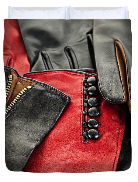 Leather gloves Duvet Cover by Elena Elisseeva