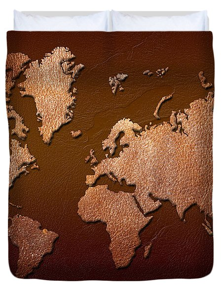 Leather World Map Duvet Cover by Zaira Dzhaubaeva
