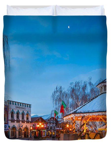 Leavenworth Christmas Moon Duvet Cover by Inge Johnsson