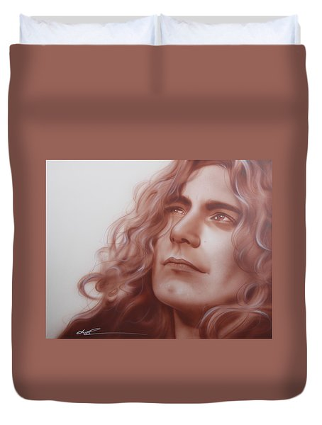 Robert Plant - ' Leaves Are Falling All Around ' Duvet Cover by Christian Chapman Art
