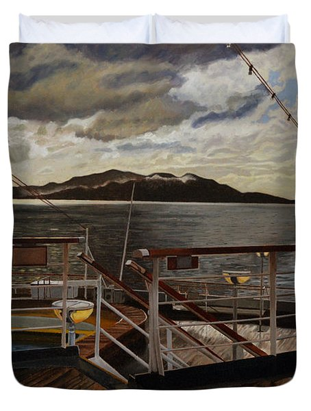 Leaving Queen Charlotte Sound Duvet Cover by Thu Nguyen