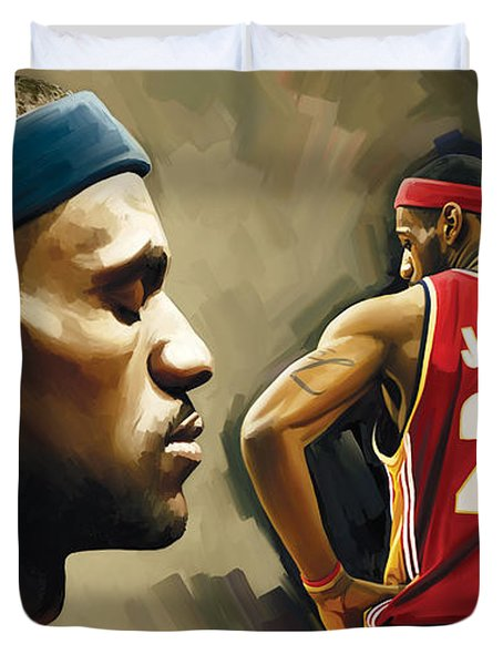 Lebron James Artwork 1 Duvet Cover by Sheraz A