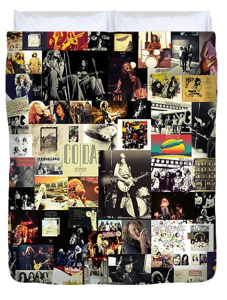 Led Zeppelin Collage Duvet Cover by Taylan Soyturk