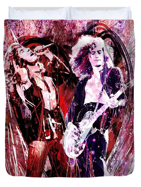 Led Zeppelin - Jimmy Page And Robert Plant Duvet Cover by Ryan Rock Artist