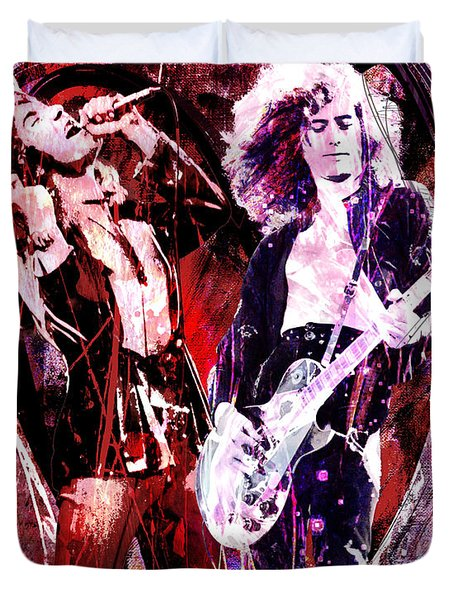 Led Zeppelin - Jimmy Page and Robert Plant Duvet Cover by Ryan RockChromatic