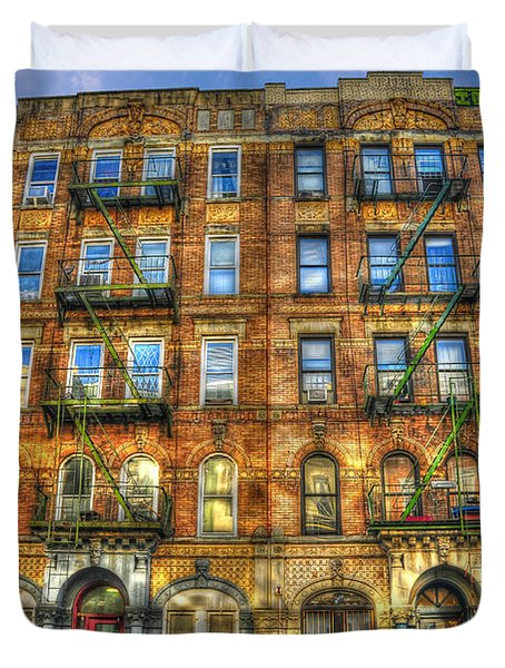 Led Zeppelin Physical Graffiti Building In Color Duvet Cover by Randy Aveille