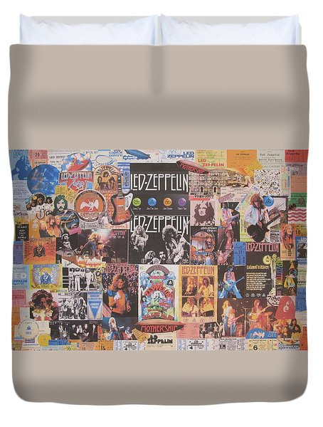 Led Zeppelin Years Collage Duvet Cover by Donna Wilson
