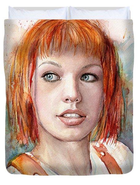 Leeloo Portrait Multipass The Fifth Element Duvet Cover by Olga Shvartsur