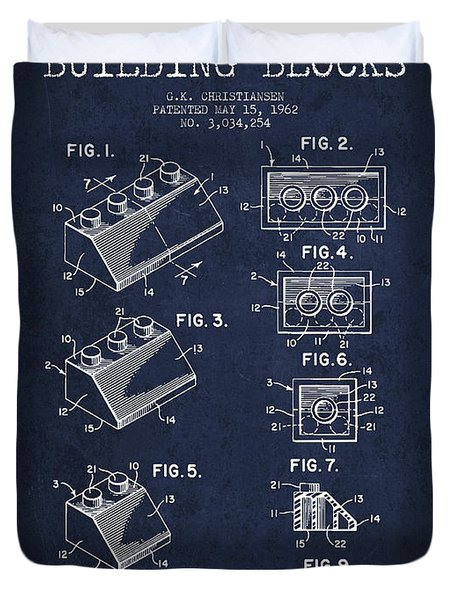 Lego Toy Building Blocks Patent - Navy Blue Duvet Cover by Aged Pixel
