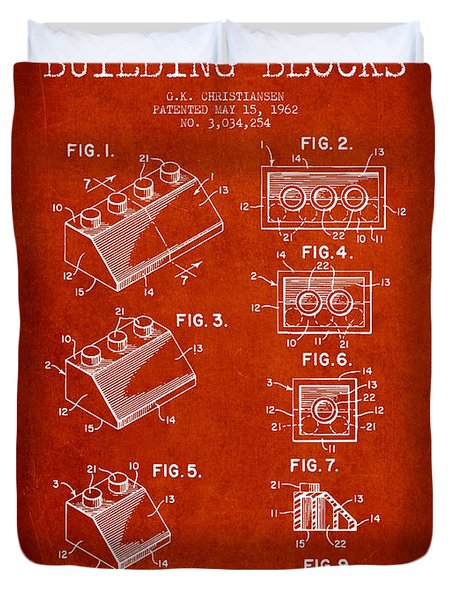 Lego Toy Building Blocks Patent - Red Duvet Cover by Aged Pixel