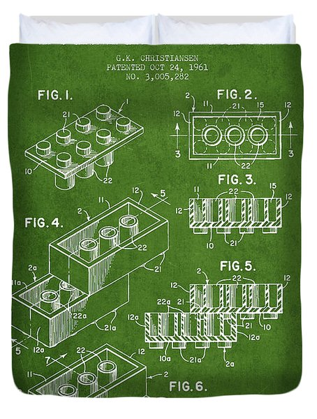 Lego Toy Building Brick Patent - Green Duvet Cover by Aged Pixel