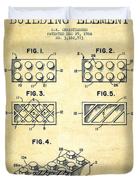 Lego Toy Building Element Patent - Vintage Duvet Cover by Aged Pixel